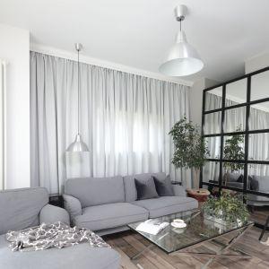 Do jasnego salonu urządzonego w szarościach wybrano oświetlanie w srebrny kolorze, które świetnie pasuje do całej aranżacji. Projekt: Wioletta Wójcik. Fot. Bartosz Jarosz