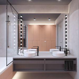 Dwie okrągłe umywalki nablatowe w łazience, z której korzysta dwójka dzieci to bardzo wygodne rozwiązanie. Autorka projektu  wizualizacji: Edyta Bystroń, Pracownia Projektowania Wnętrz Loci