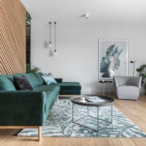 Zielona kanapa i dywan w tym samym kolorze - piękny modny salon. Projekt: Marta i Michał Raca, pracownia Raca Architekci. Zdjęcia Fotomohito