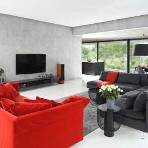 Z betonową ścianą zestawiono tu kanapy w szarościach i dodającej energii czerwieni. Projekt: Hanna i Seweryn Nogalscy, Beton House. Fot. Bartosz Jarosz