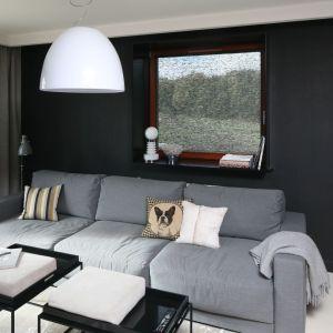 Ściana za kanapą pomalowane na czarny kolor stanowi mocny element w nowoczesnym salonie. Projekt: Kasia Dudko, Michał Dudko. Fot. Bartosz Jarosz