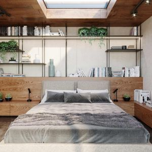 W takiej dużej sypialni można sobie pozwolić na wiele. Na ścianie za łóżkiem znalazł się cały regał na książki, kwiaty i inne drobiazgi. Projekt i zdjęcia: KANDO ARCHITECTS