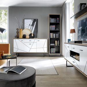 Białe meble z geometrycznymi zdobieniami na frontach z oferty marki Meble Wójcik. Fot. Meble Wójcik