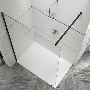 Kabina prysznicowa Walk-In PIII/ALTIIa. Na zdjęciu z przezroczystym szkłem i profilami w czarnym kolorze. Cena: 3 029,49 zł. Producent: Sanplast