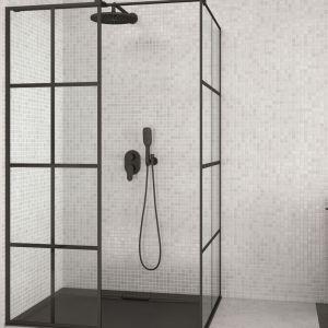 Czarna kabina prysznicowa Excea marki Besco. Cena: ok 2091 zł. Fot. Besco