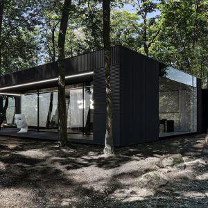 Dom, ma być przede wszystkim bezpieczny dla inwestora, dlatego dopiero na tyłach domu widoczne są okna i wszelkie zaplanowane wewnątrz funkcje. Fot. REFORM Architekt