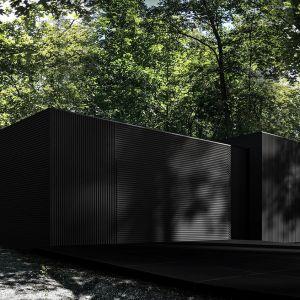 Frontowa elewacja mimo wrażenia ciemnej szarości, w rzeczywistości będzie wpadała w różne odcienie ciemnego brązu oraz naturalnej szarości. Fot. REFORM Architekt