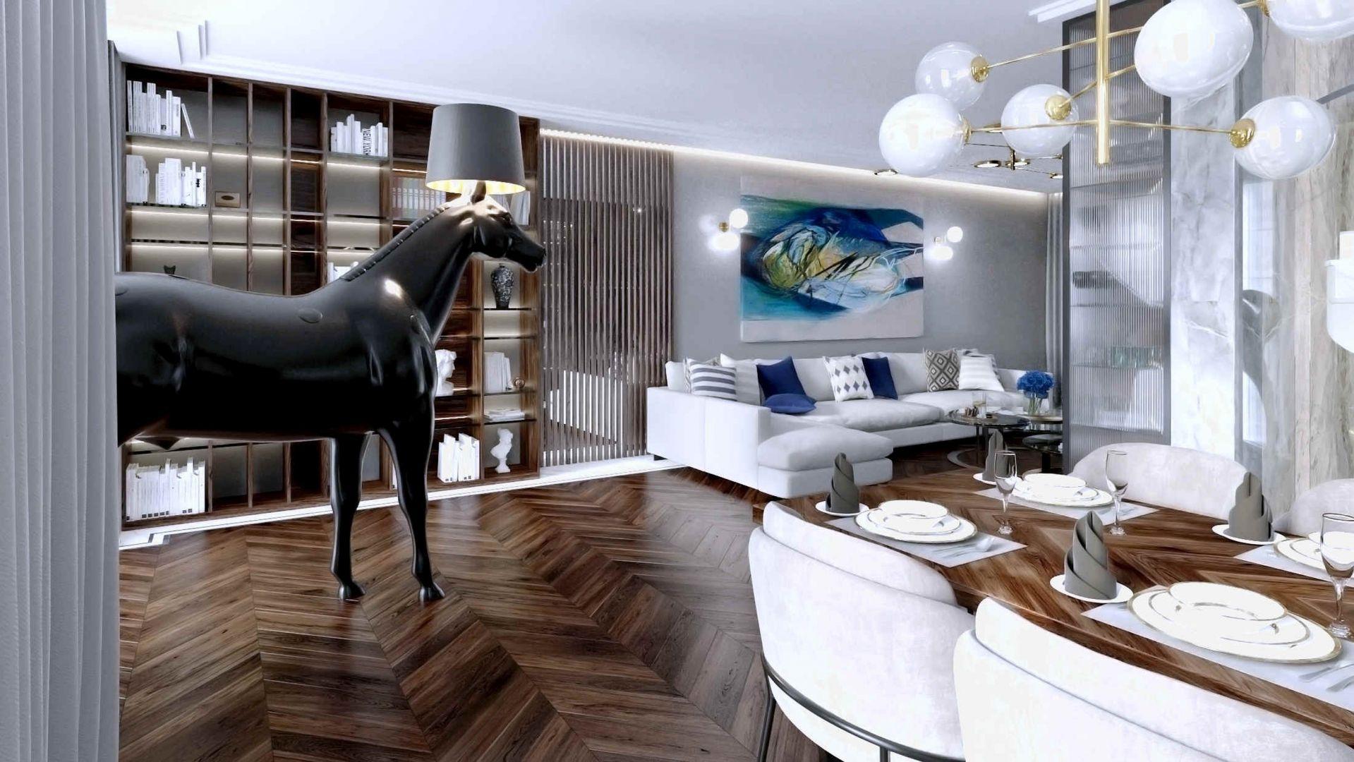 Realistycznych rozmiarów lampa-koń to prawdziwa rzeźba we wnętrzu. Projekt Tissu Architecture