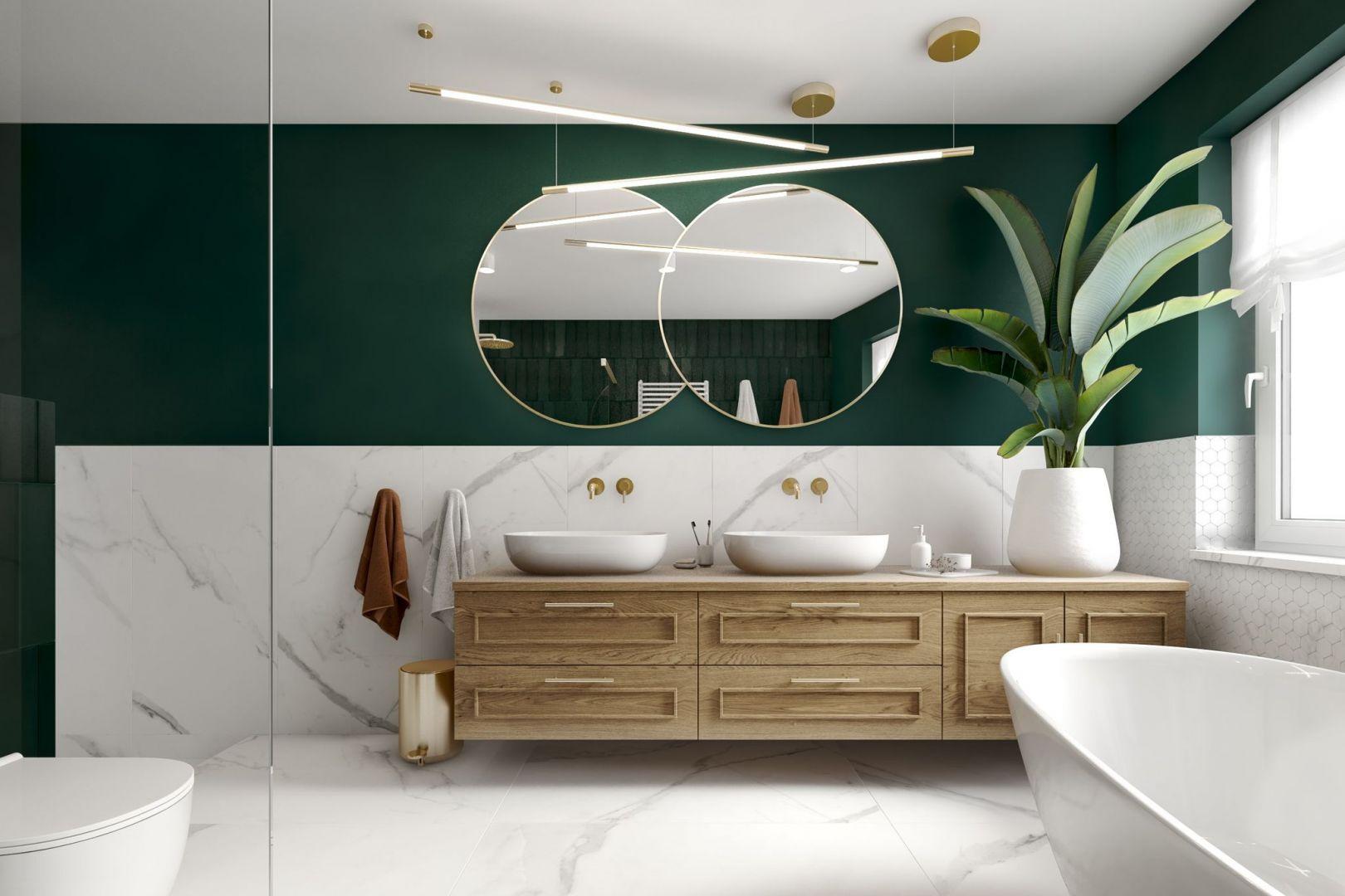 Lustro w łazience - dwa podwójne lustra nad dwiema umywalkami. Projekt: Marta Ogrodowczyk-Trepczyńska, Marta Piórkowska, Oktawia Rusin. Wizualizacje: Elżbieta Paćkowska