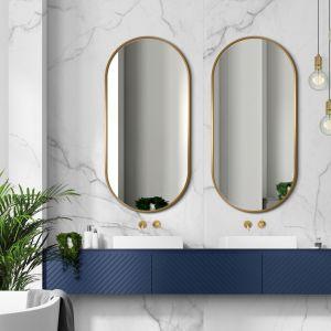 Dwa owalne lustra sprawdzą się przy wąskich podwójnych umywalkach i tam, gdzie jest duża różnica wzrostu między domownikami. Na zdjęciu kolekcja luster Ambient Giera Design. Fot. Giera Design