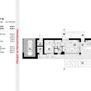 Rzut parteru: rozkład pomieszczeń. Projekt: pracownia HomeKONCEPT
