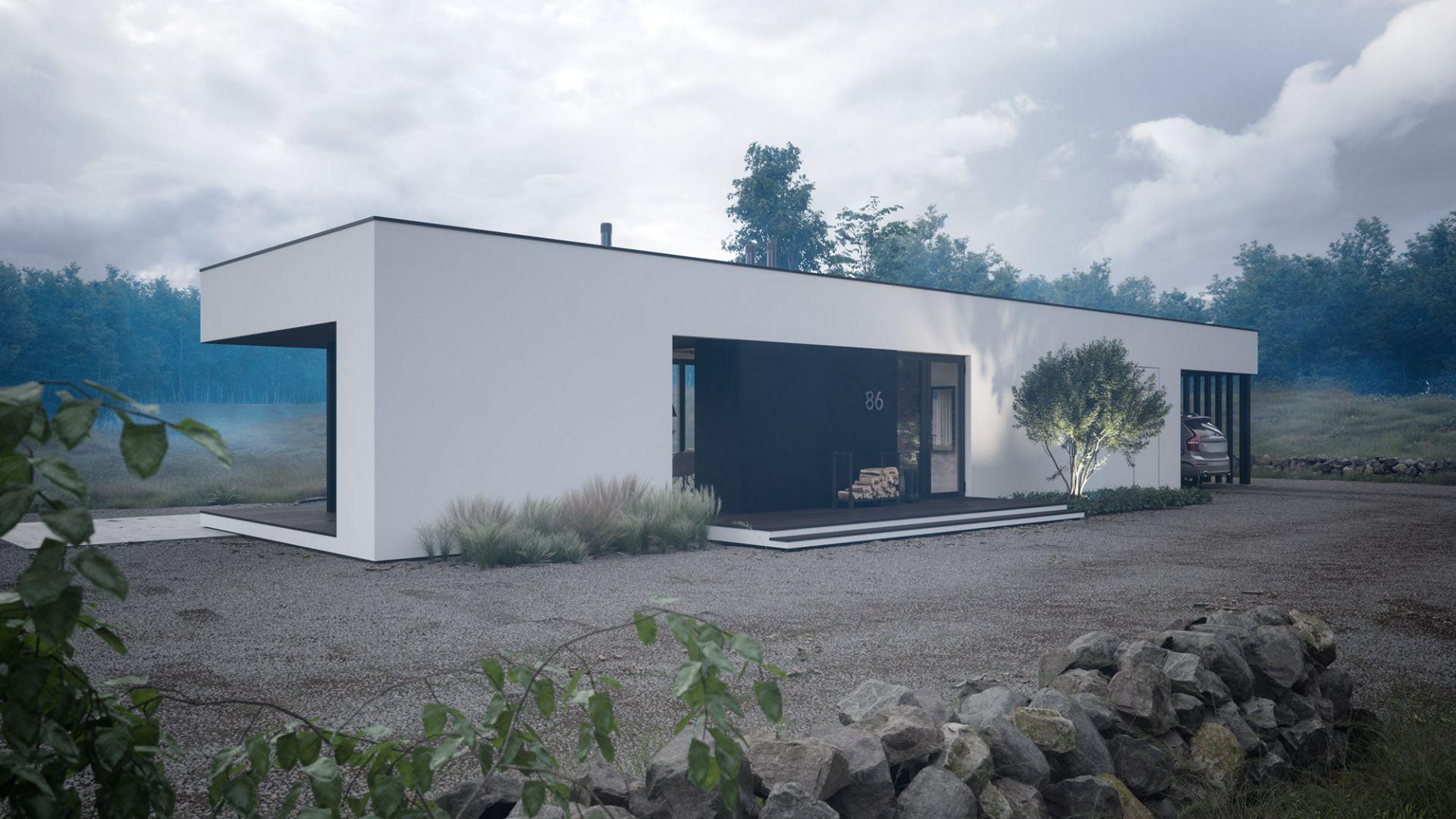 Dom doskonale nadaję się doskonale nadaje się do realizacji na bardzo wąskich działkach budowlanych o szerokości poniżej 13 metrów. Projekt: pracownia HomeKONCEPT