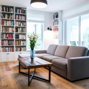 Miejsce na książki w salonie - regał z zamykanymi dolnymi szafkami. Projekt: Deer Design