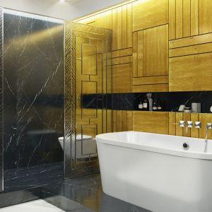Idealne połączenie kolorów nadało łazience charakter eleganckiego salonu kąpielowego. Projekt: MIKOŁAJSKAstudio. Fot. Krystyna Mikołajska