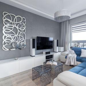 Ścianę za telewizorem wykończono szarą farbą, która idealnie pasuje do biel i srebrnych dodatków. Projekt: Justyna Mojżyk, poliFORMA. Fot. Monika Filipiuk-Obałek