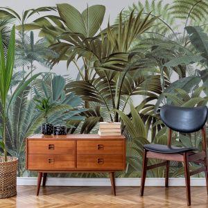 Ściana w salonie - tapeta w stylu muralu. Tapeta dostępna w sklepie Wallsauce. Fot. Wallsauce.com