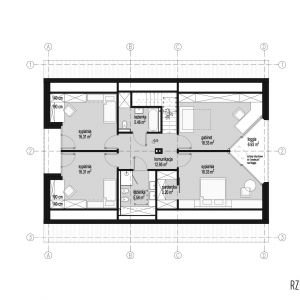 Rzut piętra. Dom z obejściem. 163,7 m² + 26,7 taras i loggia. Projekt: Domy z Głową, Pracownia Architektury Głowacki