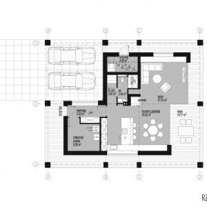 Rzut parteru. Dom z obejściem. 163,7 m² + 26,7 taras i loggia. Projekt:  Domy z Głową, Pracownia Architektury Głowacki