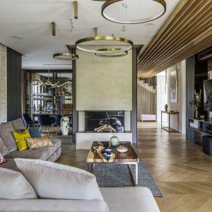 Obudowa kominka jest równie elegancka jak cała aranżacji salonu. Projekt: Tissu Architecture. Fot. Yassen Hristov