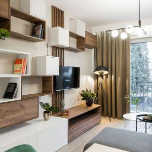 Pomysł na ściany w małym salonie. Jeśli brak w mieszkaniu miejsca na przechowywanie, można je przewidzieć także na ścianie z telewizorem. Projekt: Pracownia i zdjęcia KODO Projekty i Realizacje