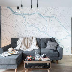 Pomysł na ściany w małym salonie - tapeta w chłodnej tonacji. Projekt i zdjęcia: pracownia KODO Projekty i Realizacje Wnętrz