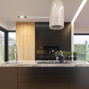 Komfortowa kuchnia z wyspą stanowi przedłużenie pokoju dziennego. Projekt: arch. Michał Gąsiorowski. Fot. MG Projekt