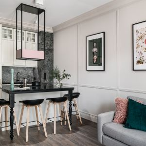 Mały salon z kuchnią urządzono w klasycznym stylu. Projekt JT Group. Fot. Fotomohito