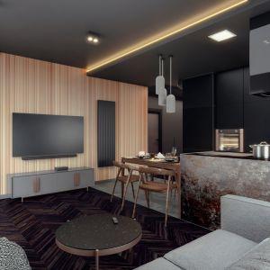Apartament składa się z otwartej przestrzeni przedpokoju, salonu z aneksem kuchennym i jadalnią. Domowe biuro, łazienka i sypialnia są odrębnym pomieszczeniami. Projekt i wizualizacje: Monika Staniec, Interior Design