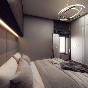 W sypialni zaplanowano też szafy. Projekt i wizualizacje: Monika Staniec, Interior Design