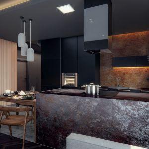 Kuchnię od salonu oddziela duża, wygodna wyspa. Projekt i wizualizacje: Monika Staniec, Interior Design