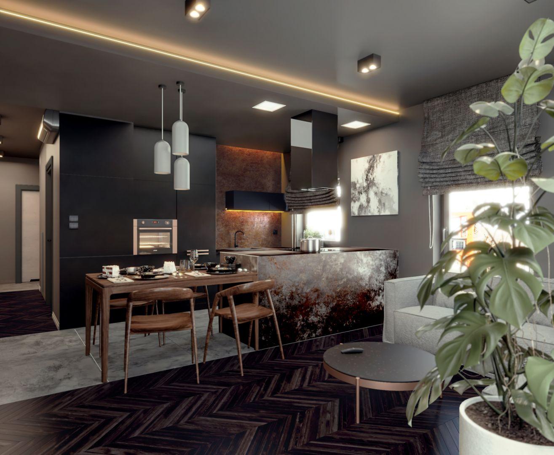 Wnętrze jest ciemne, minimalistyczne, ale też bardzo przytulne. Projekt i wizualizacje: Monika Staniec, Interior Design
