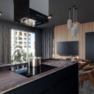 W kuchni projektantka połączyła kafle, spieki i laminaty, dzięki czemu nie jest ona monotonna a jednocześnie płynna kolorystycznie. Projekt i wizualizacje: Monika Staniec, Interior Design