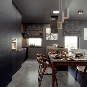Przy wyspie ustawiony został drewniany stół. Projekt i wizualizacje: Monika Staniec, Interior Design