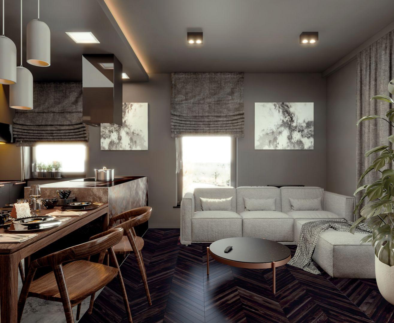 Mieszkanie zostało zaprojektowane dla studenta medycyny, który miał mocno sprecyzowane oczekiwania wobec wnętrza. Projekt i wizualizacje: Monika Staniec, Interior Design