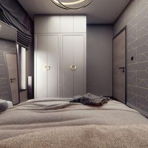 Sypialnię urządzono w takim samej kolorystyce, jak otwartą dzienną. Jest nowocześnie, ale przytulnie. Projekt i wizualizacje: Monika Staniec, Interior Design