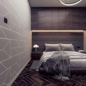Nad łóżkiem w sypialni zaplanowano szafki, które skrywają drewniane fronty. Projekt i wizualizacje: Monika Staniec, Interior Design