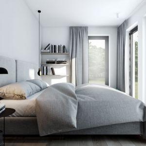 Szara sypialnia - pomysł na aranżację wnętrza. Projekt:  AM.Home