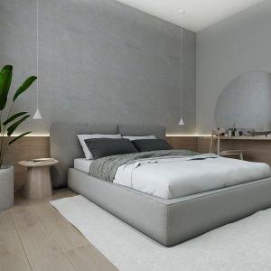 Szara sypialnia - pomysł na aranżację wnętrza. Projekt: Sebastian Marach, pracownia Yono Architecture