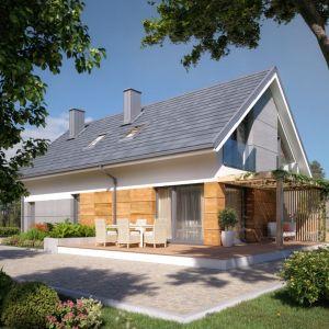Dom z poddaszem. Projekt Daktyl, powierzchnia użytkowa: 132,71 m2. Na piętrze 3 sypialnie. Pracownia DOMYwstylu.pl