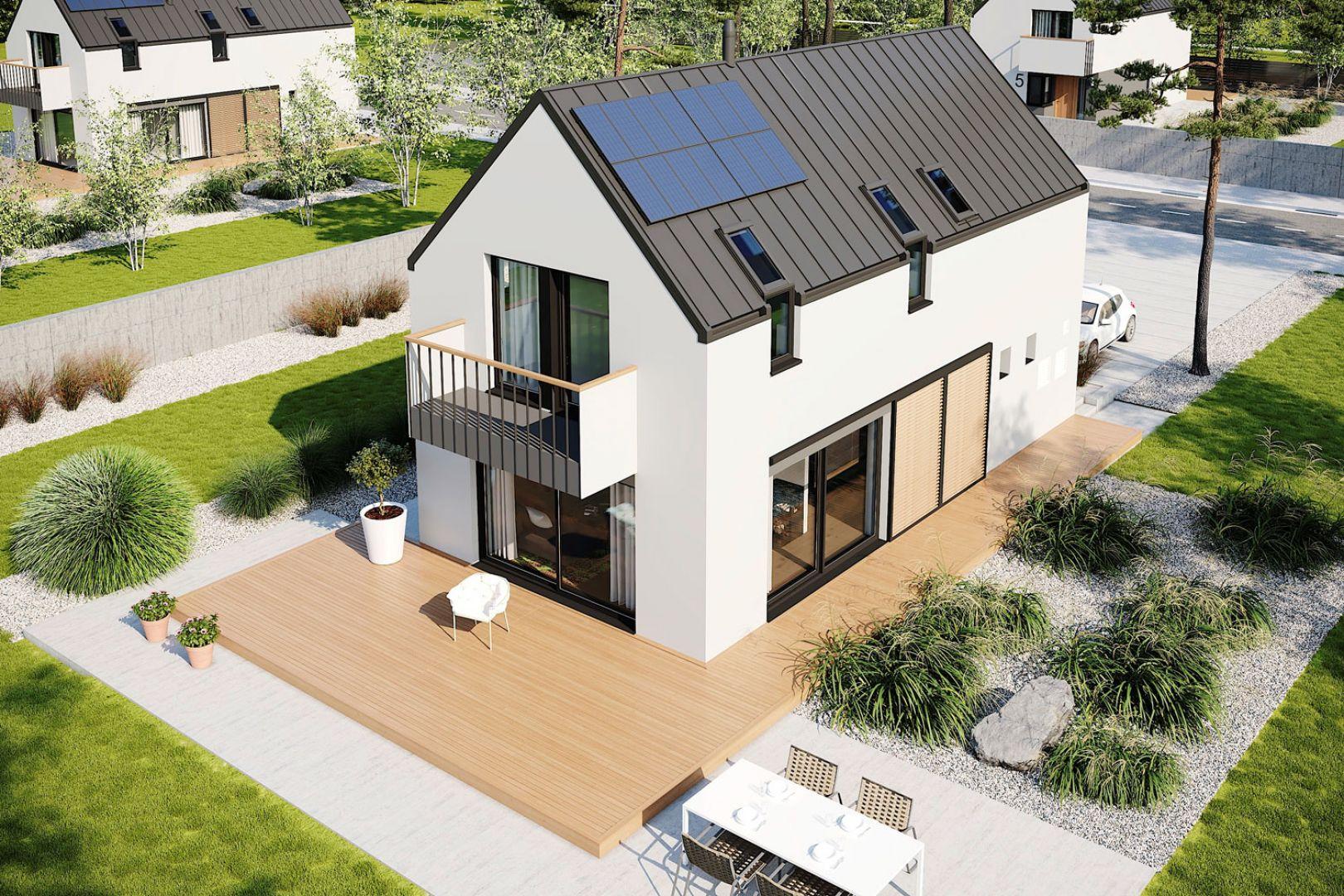 Projekt Moniczka III Energo Plus reco to znakomita propozycja dla inwestorów, którzy szukają energooszczędnego domu na wąską działkę. Projekt: pracownia Archipelag