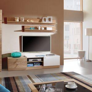Białe meble ocieplone drewnem to sposób na uniwersalną aranżację salonu. Na zdj. Modern Paged