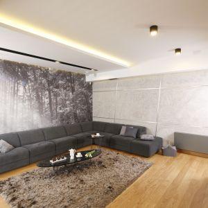 Ściany w salonie zdobi fototapeta z leśnym pejzażem i beton. Projekt Monika i Adam Bronikowscy. Fot. Bartosz Jarosz