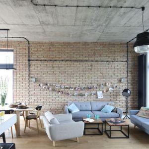 Cegła na ścianie w salonie idealnie komponuje się z betonowym sufitem. Projekt Maciejka Peszyńska-Drews. Fot. Bartosz Jarosz