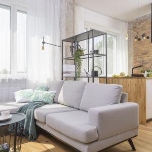 Mały salon z kuchnią otwartą. Projekt Katarzyna Kiełek. Fot. Bartosz Jarosz