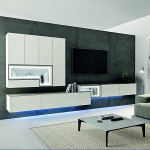 Białe meble do salonu z kolekcji Tetrim dostępne w ofercie firmy Huelsta. Fot. Huelsta