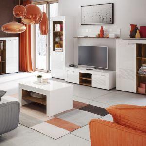 Białe meble do salonu z kolekcji Belfort dostępne w ofercie firmy Szynka Meble. Fot. Szynaka Meble