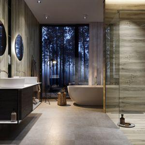 W kolekcji AVONWOOD LIGHT BEIGE od Cersanit, do dyspozycji mamy płytki z motywem nawiązujący do tradycyjnej deski z litego drewna oraz strukturą wyglądającą, jak połączenie drobnych listewek, z którymi stworzymy niebanalną dekorację łazienki, z subtelnie wyciszającą aurą. Fot. Cersanit