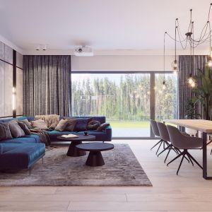 Elegancki nowoczesny salon z jadalnią w domu jednorodzinnym. Autorka projektu  wizualizacji: Edyta Bystroń, Pracownia Projektowania Wnętrz Loci