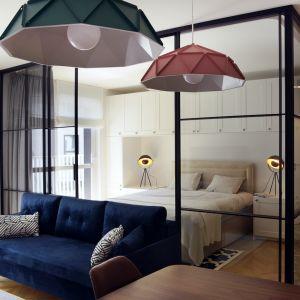 Salon połączony z sypialnią. Miejsce do spania oddzielone od pokoju dziennego szklanymi ściankami z czarnymi ramkami. Fot. Raumplus