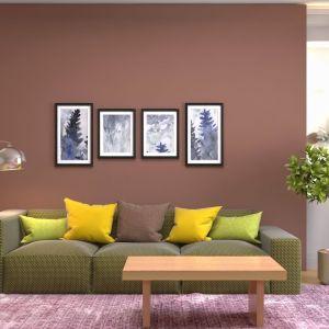 Ściany w salonie w ciepłych brązach. Taki pokój jest przytulny i nastrojowy. Fot. Jedynka